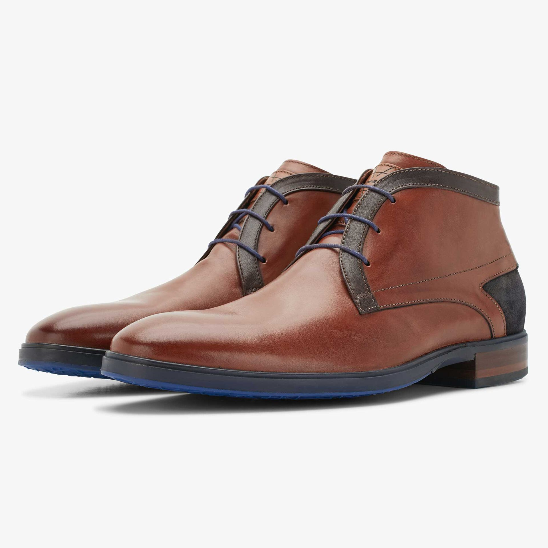 Floris van Bommel cognac-coloured men's leather lace boot
