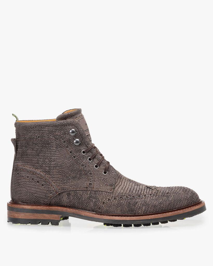 Boot lizard print grey