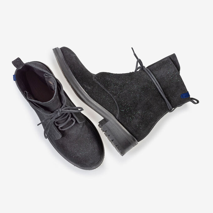 Lace boot black suede leather