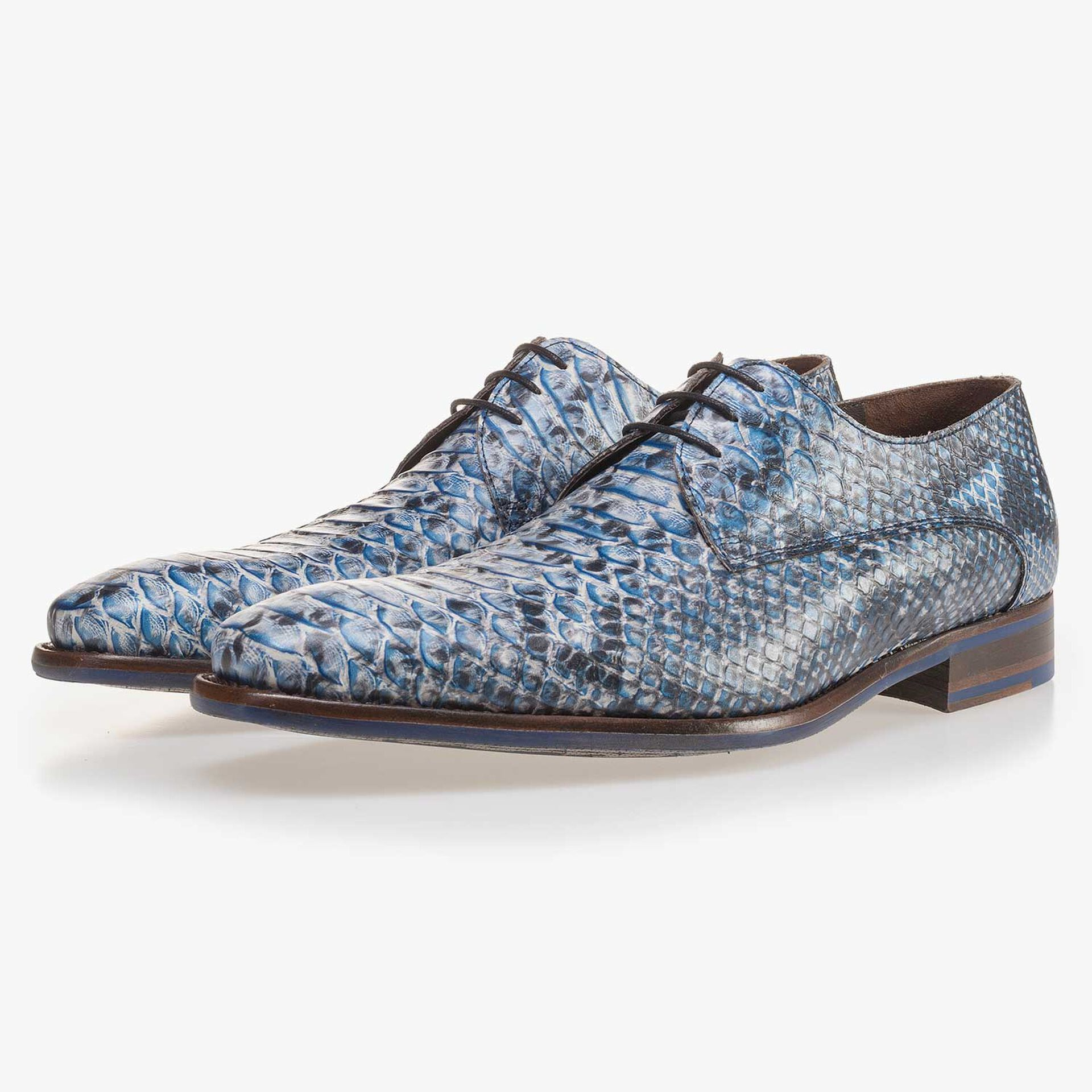 Blue leather lace shoe finished with a snake print