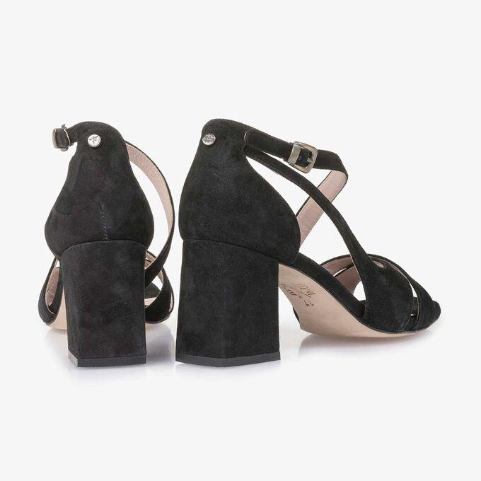 Leather high-heeled sandal