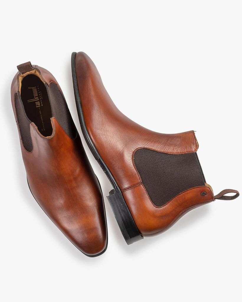 Kalfsleren chelsea boot donker cognac