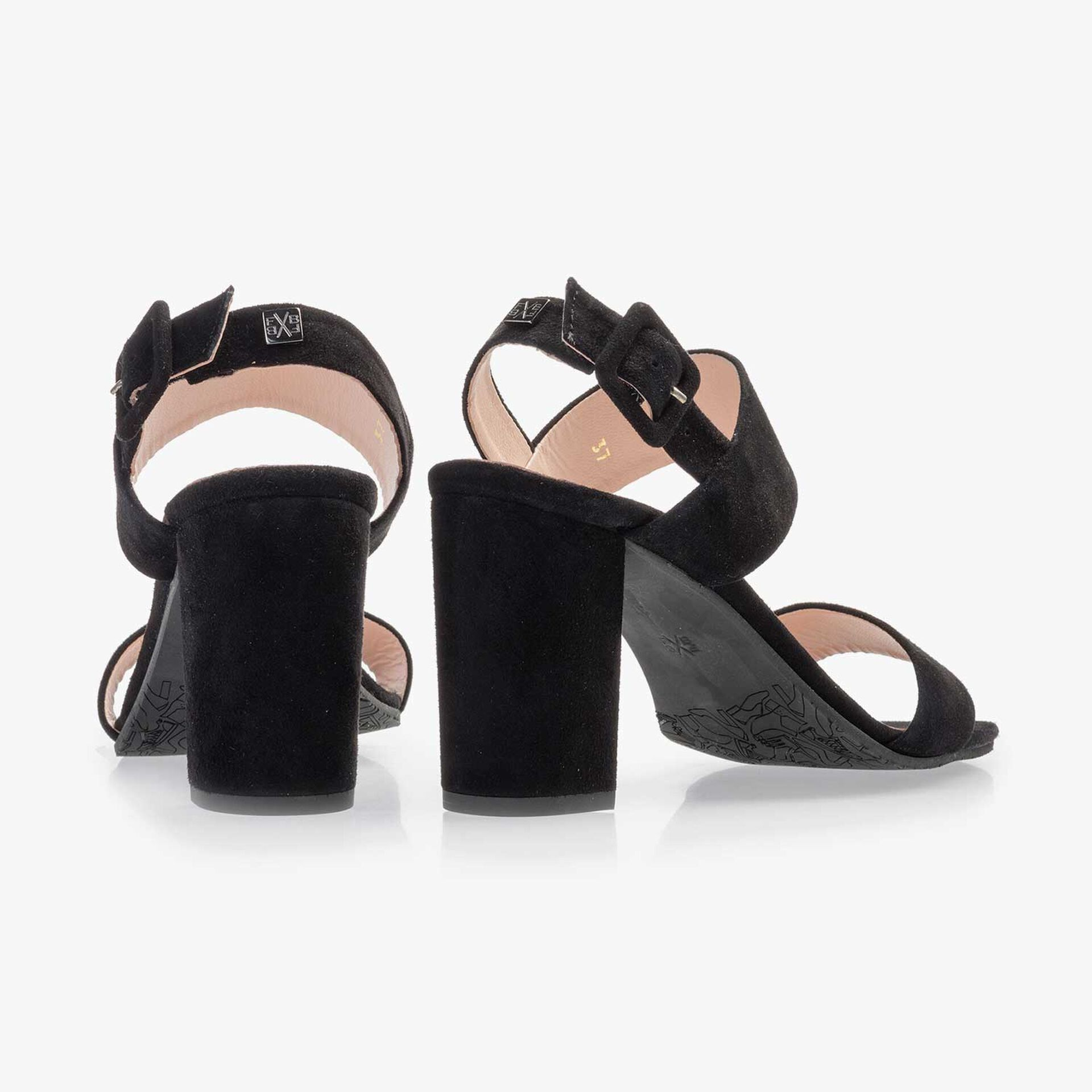 Black suede leather heeled sandal