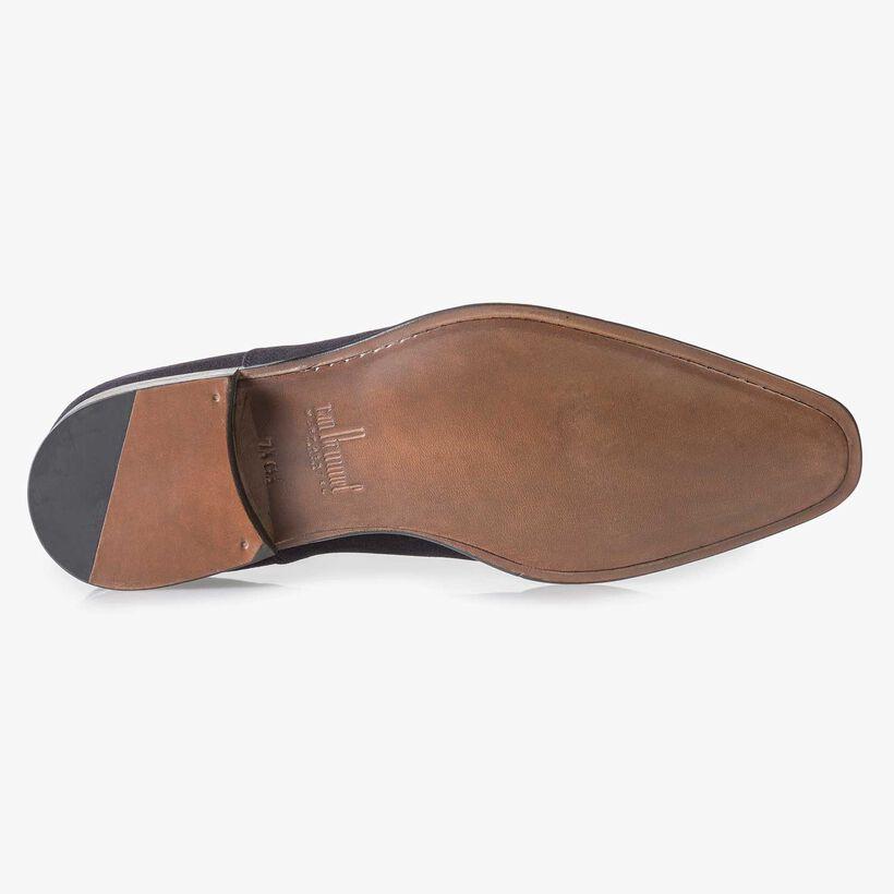 Dark blue calf suede leather lace shoe