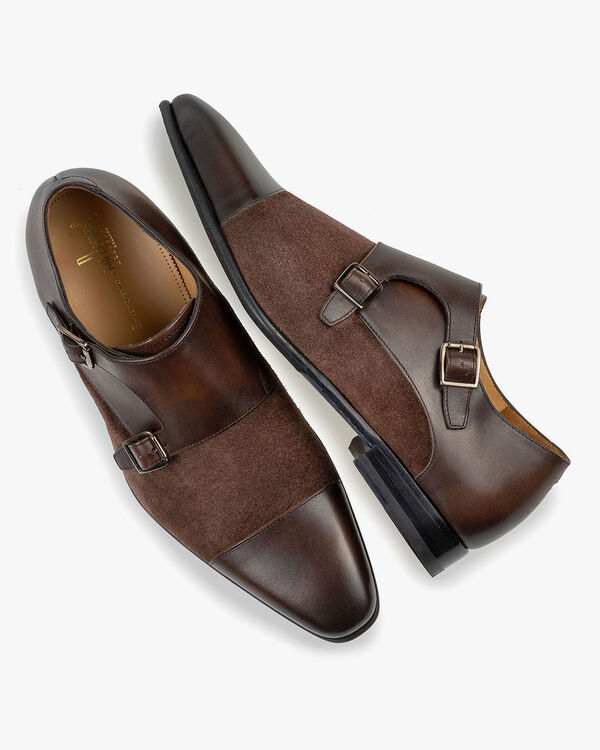 Double monk strap dark brown