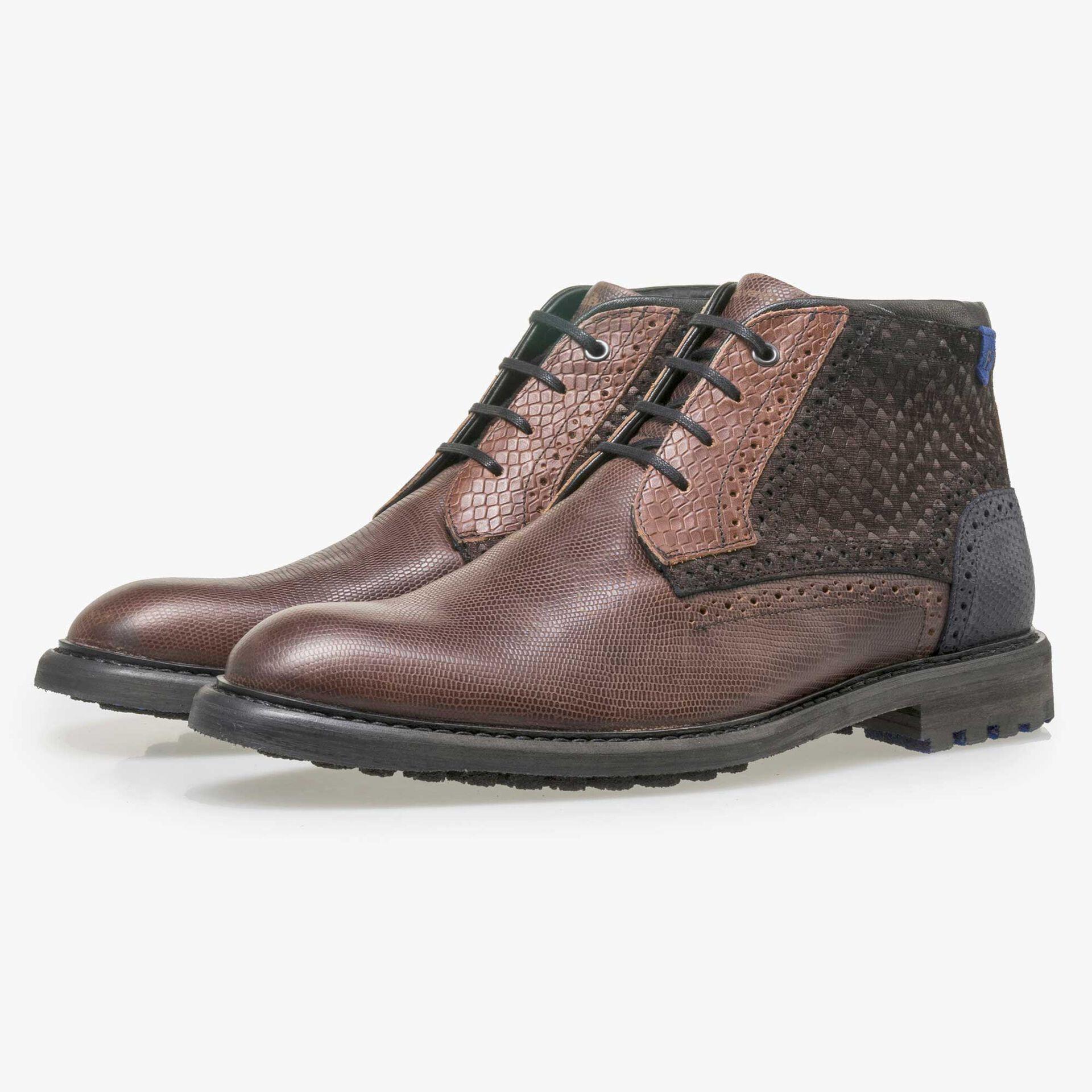 Floris van Bommel men's cognac-coloured leather lace boot with a snake print