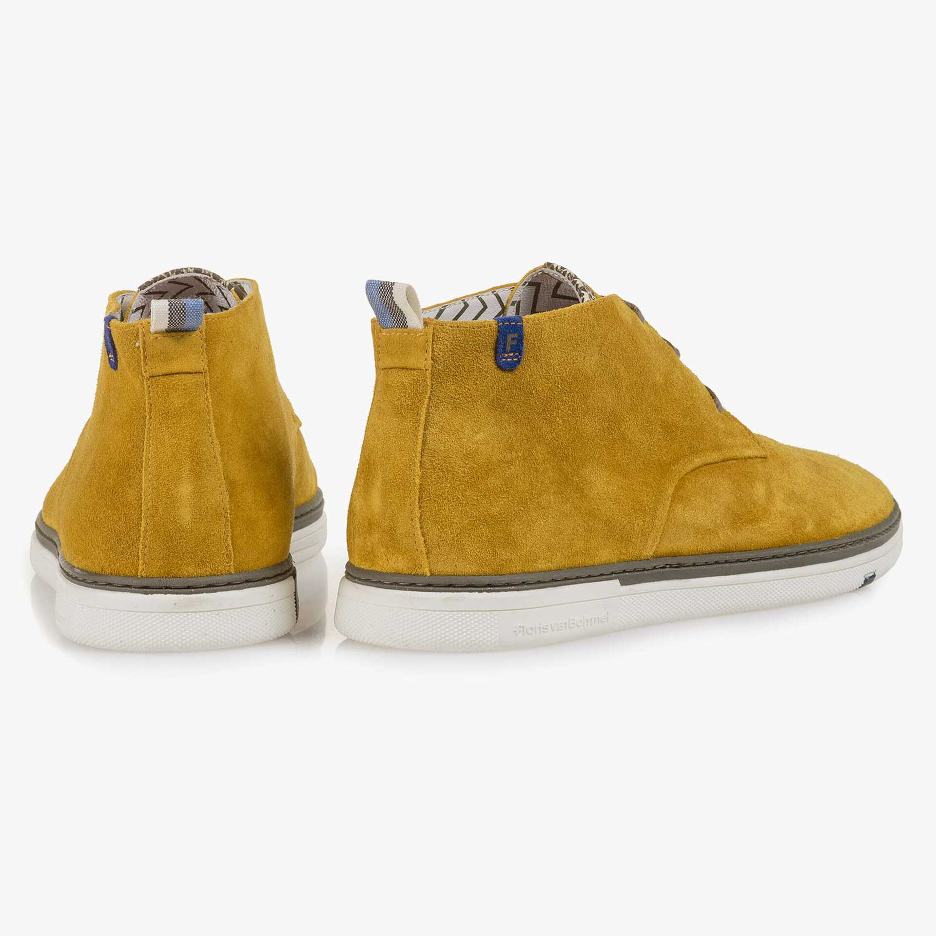 Mustard-coloured washed suede leather lace boot