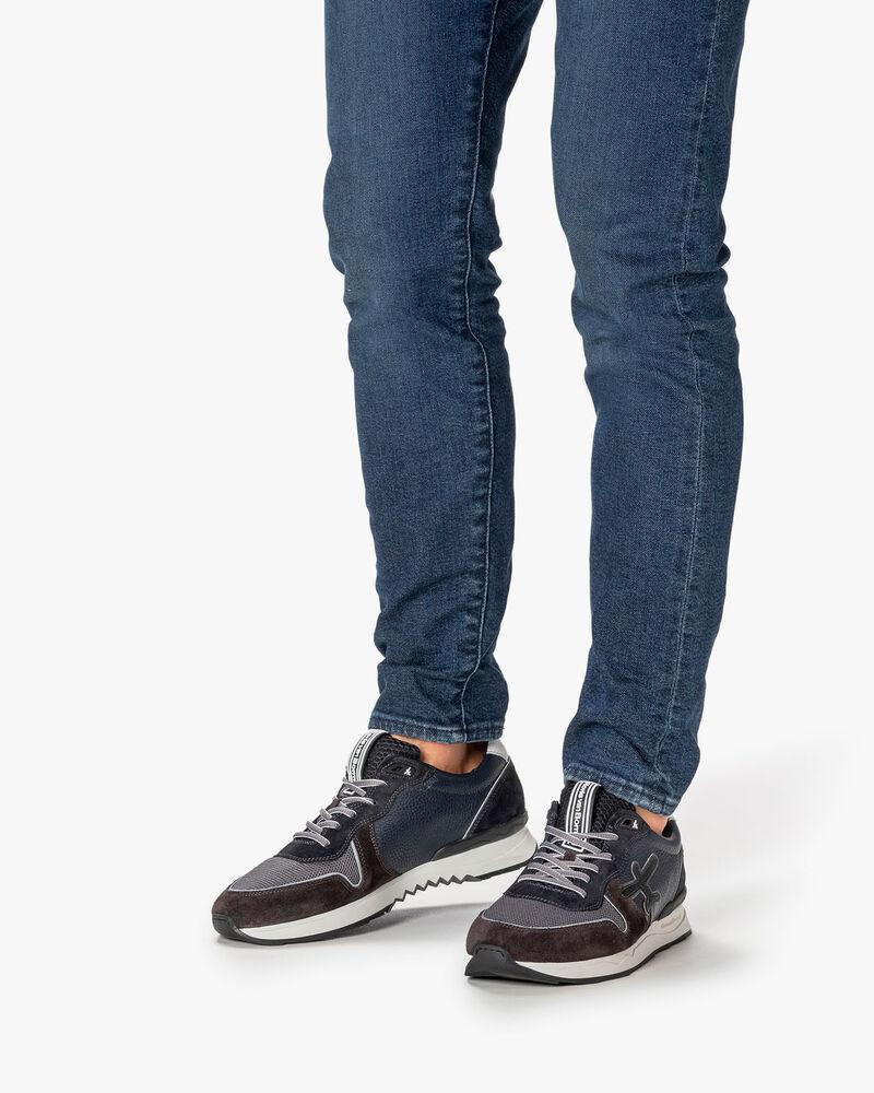 Sneaker suède blauw/groen
