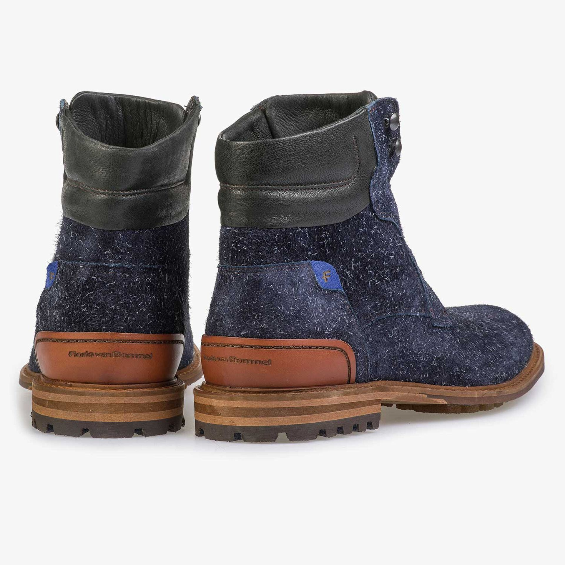 Blue rough-leather lace boot