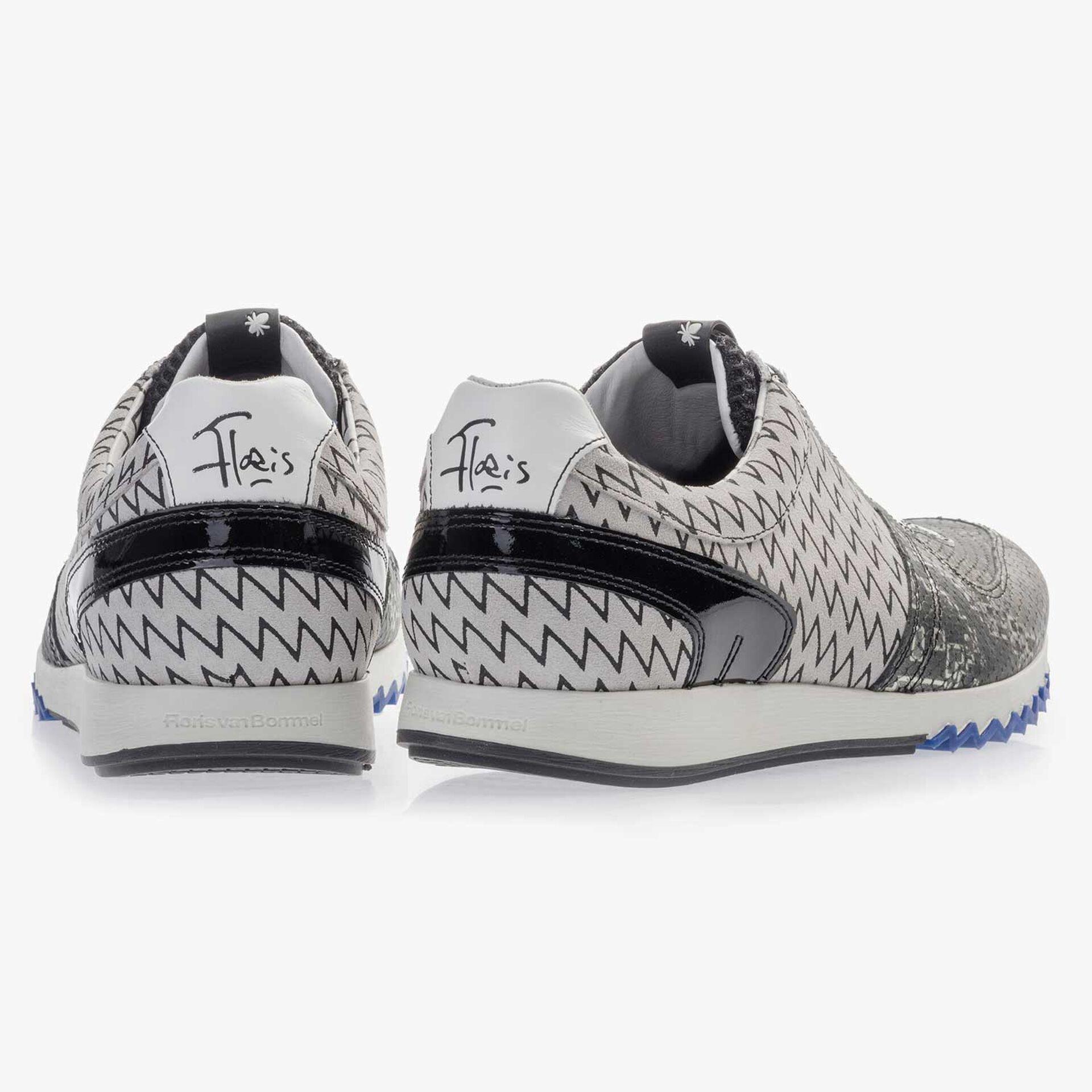Premium grijze leren sneaker met print