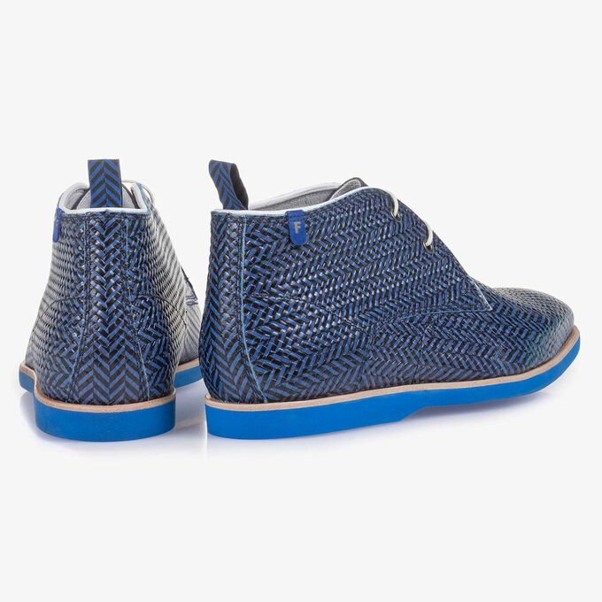 Blue-black calf leather printed calf leather boot