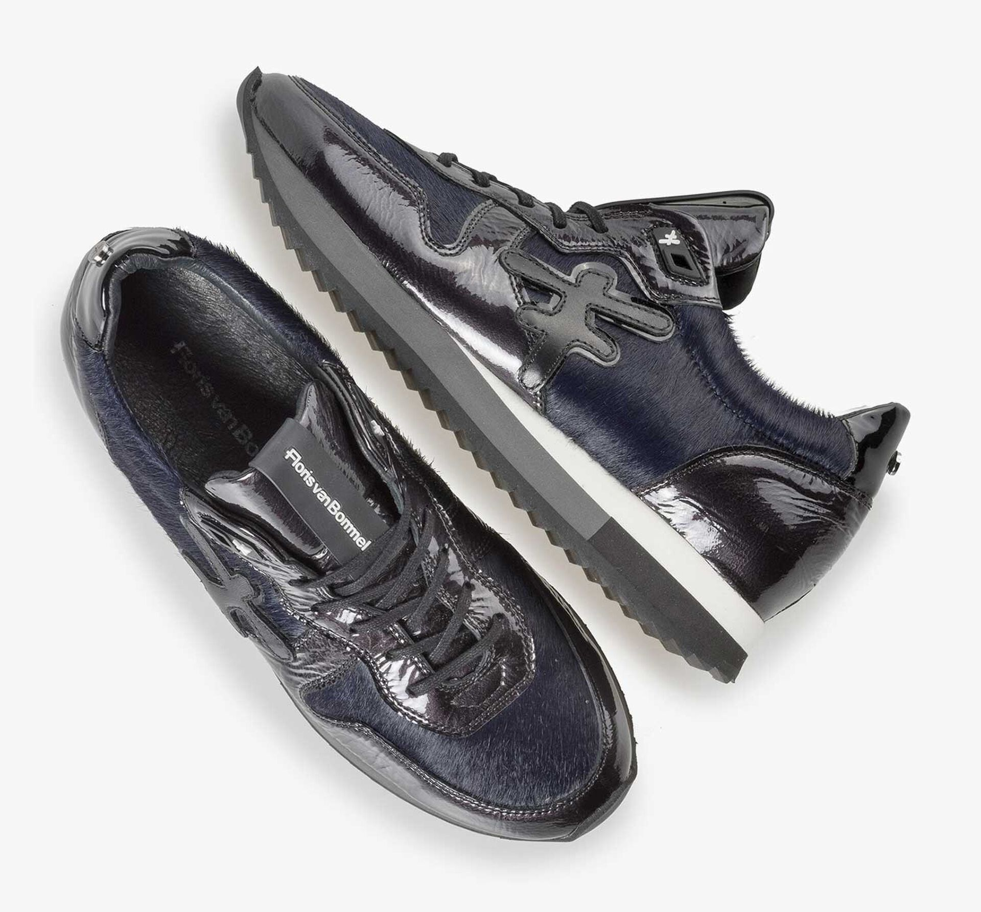 Blue patent leather sneaker with runner's sole
