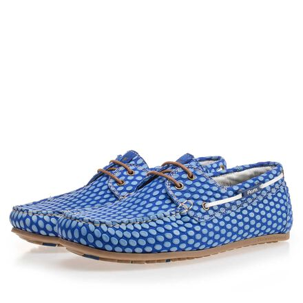 Printed leather boat shoe