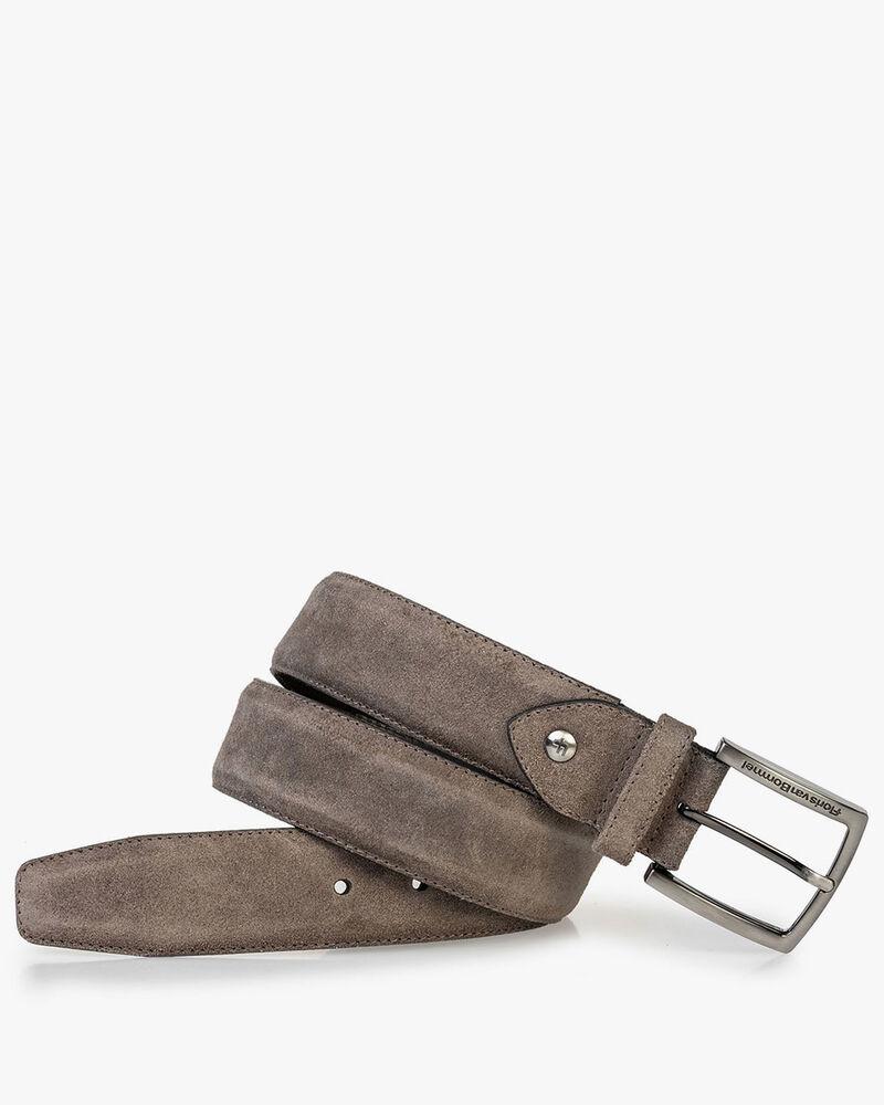 Suede leather belt dark taupe