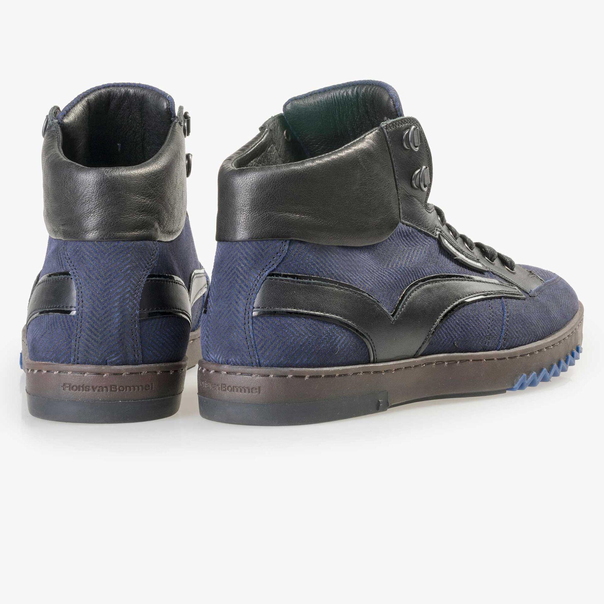 Floris van Bommel halfhoge blauwe suède heren sneaker