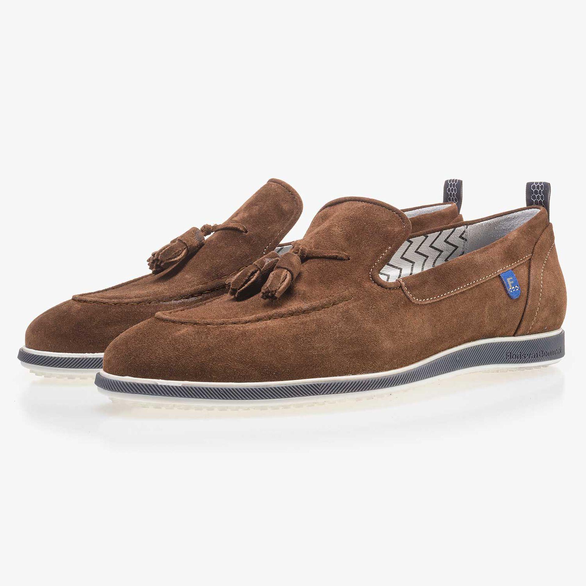 Brown suede leather tassel loafer