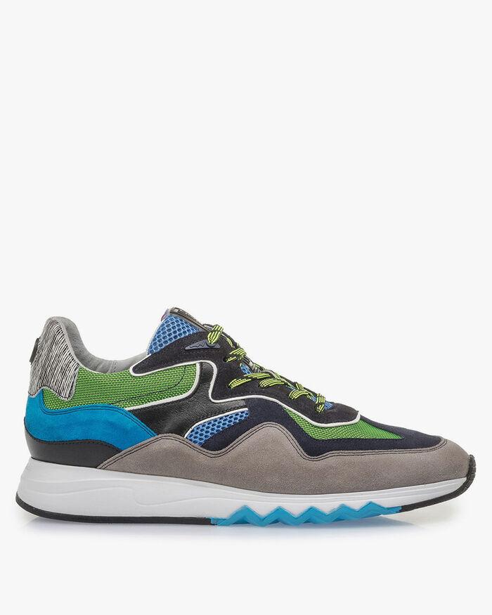 Multi-color suède sneaker met groene details