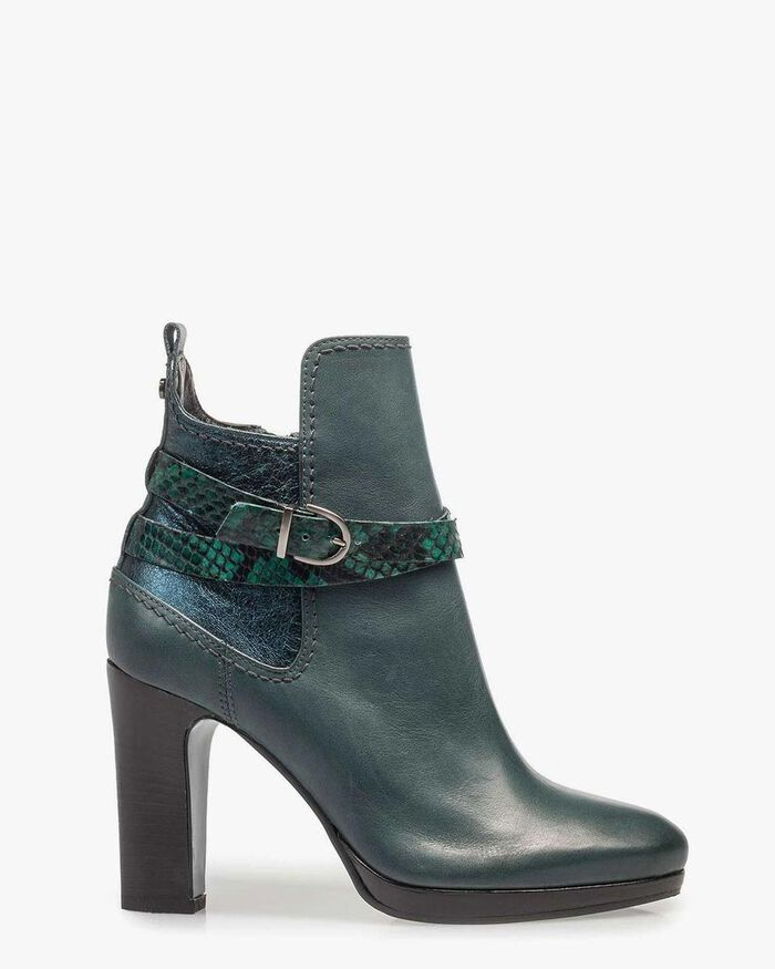Green calf leather ankle boots