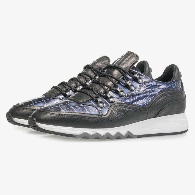 Premium blue printed metallic leather sneaker