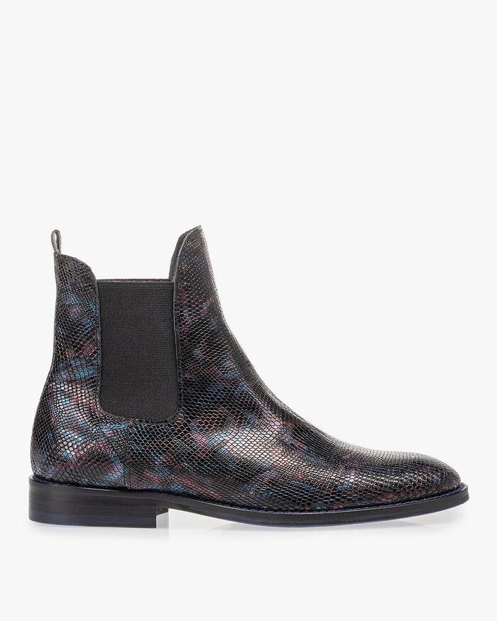 Chelsea boot crocoprint blauw