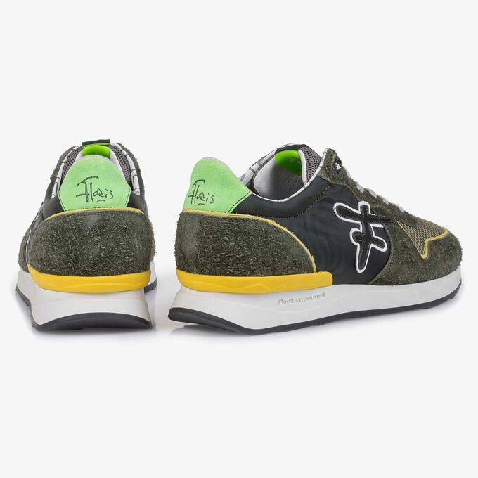 Suède sneaker groen/geel