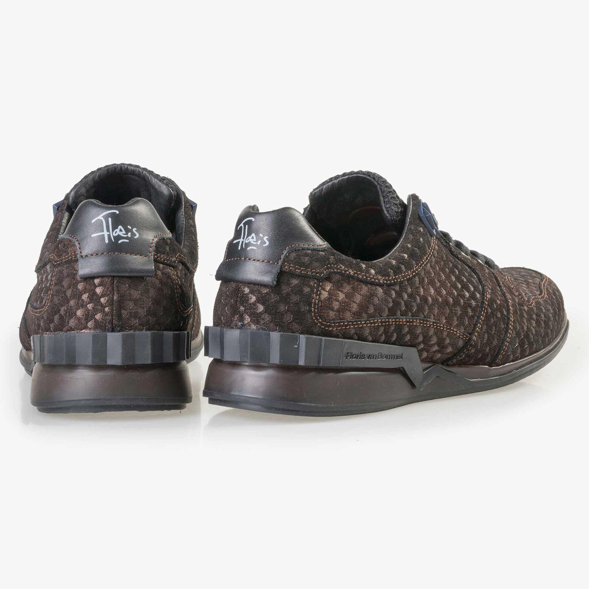 Floris van Bommel brown suede leather snake print sneaker
