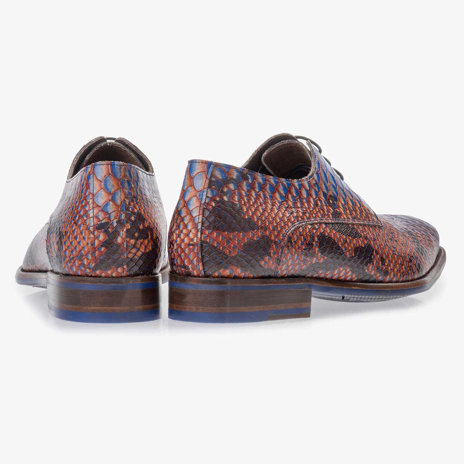 Blue leather lace shoe with snake print