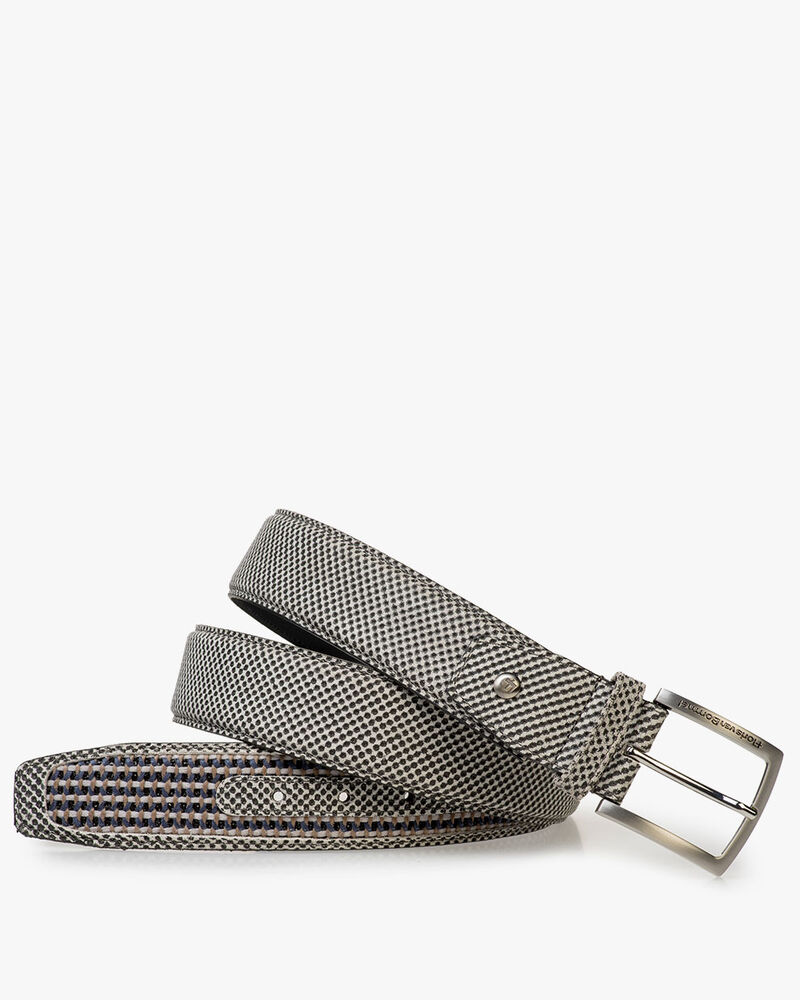 Grey suede leather belt print