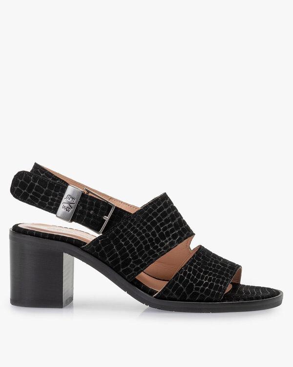 Sandaal geprint suède zwart