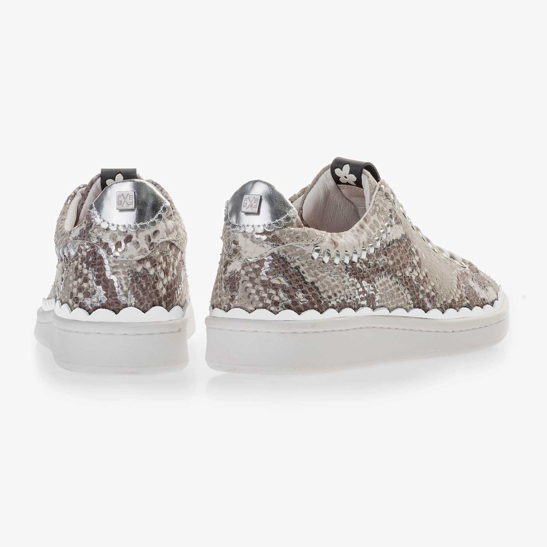 Taupe-coloured snake print leather sneaker