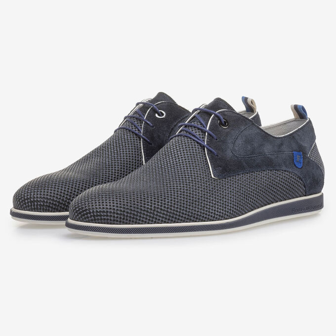 Blue suede leather lace shoe with print