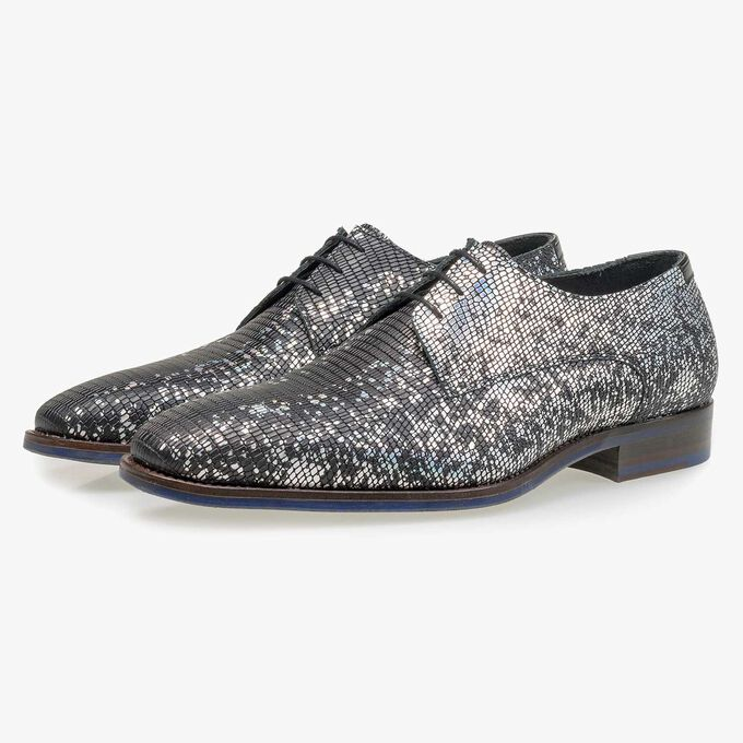 Black premium lace shoe with silver metallic print