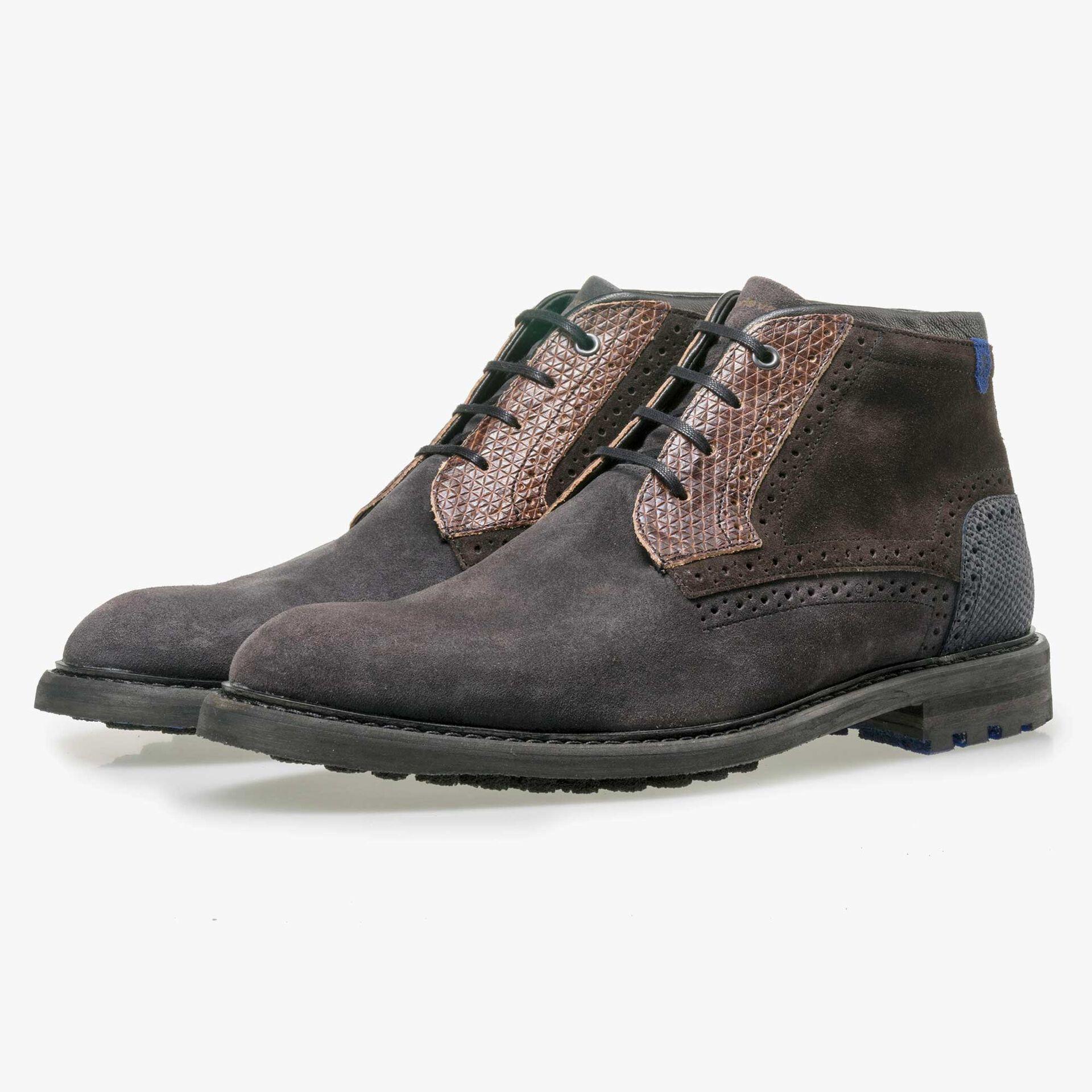 Floris van Bommel men's dark grey suede leather lace boot