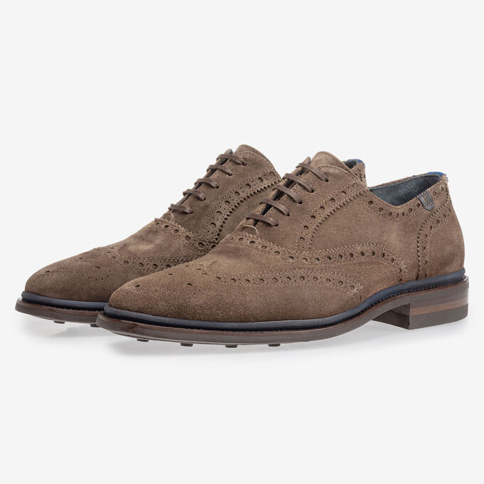 Brogue suède donker taupe