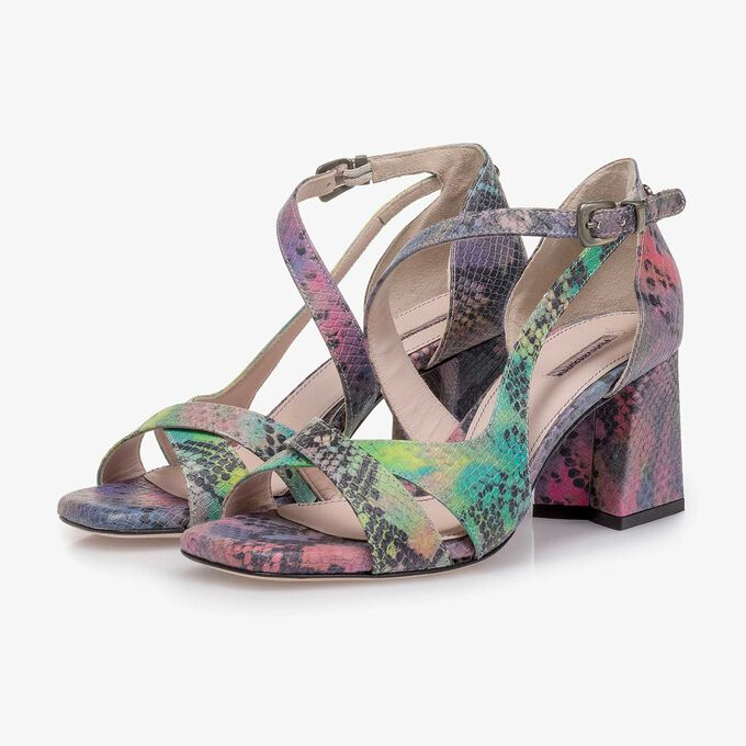 Purple snake print leather sandal