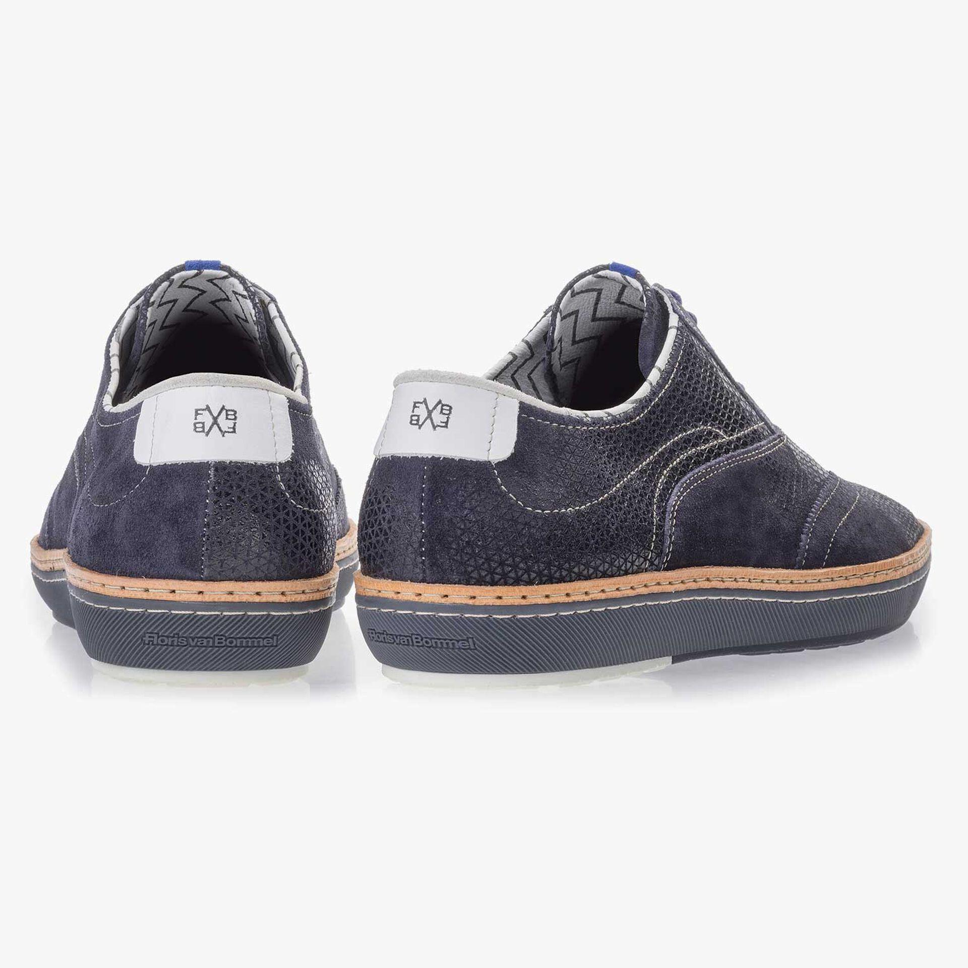Dark blue brogue suede leather sneaker