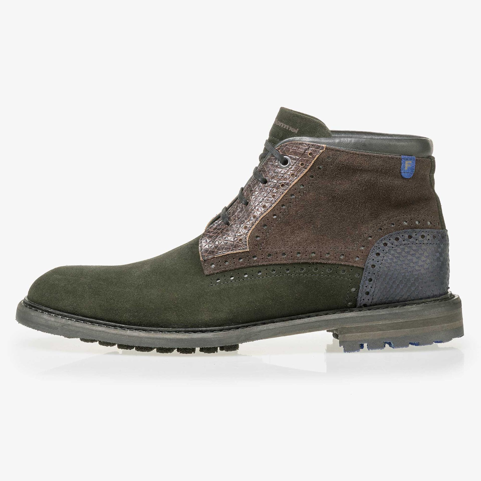 Floris van Bommel men's dark green suede leather lace boot