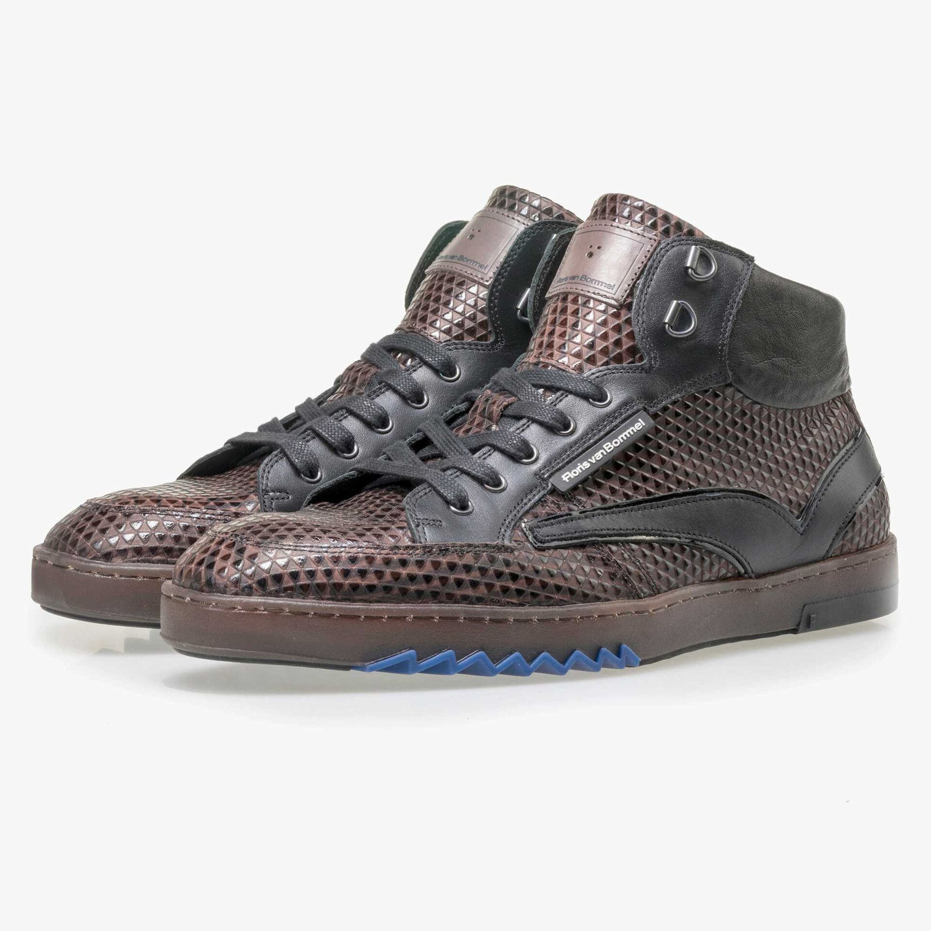 Floris van Bommel men's mid-high, brown sneaker finished with a triangular print