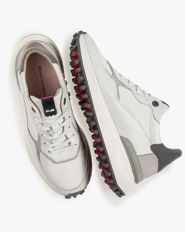Wit/grijze leren sneaker met print