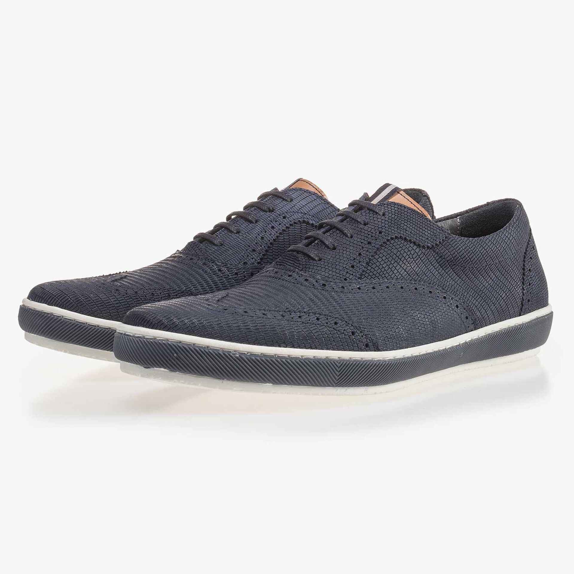Blue brogue nubuck leather sneaker