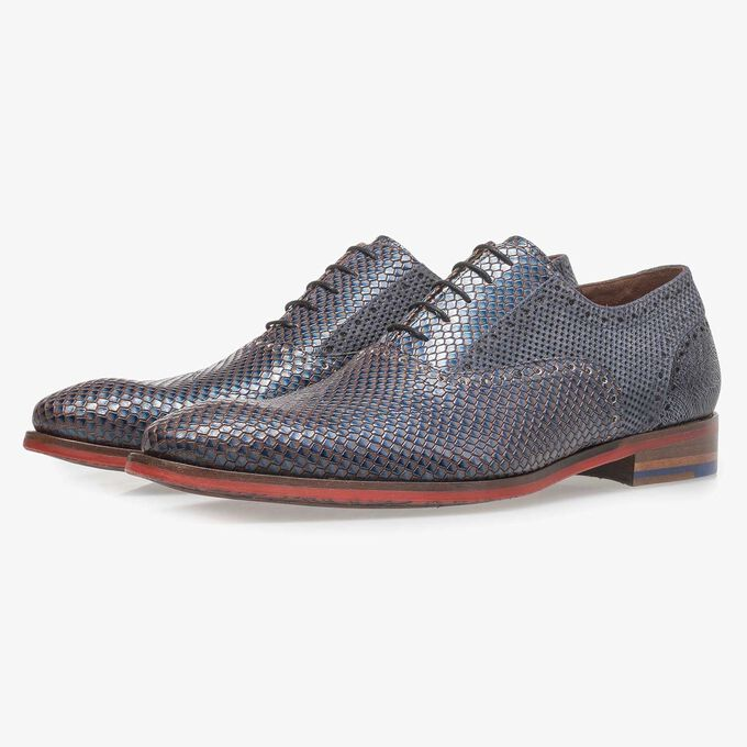 Premium blue calf leather lace shoe with metallic print