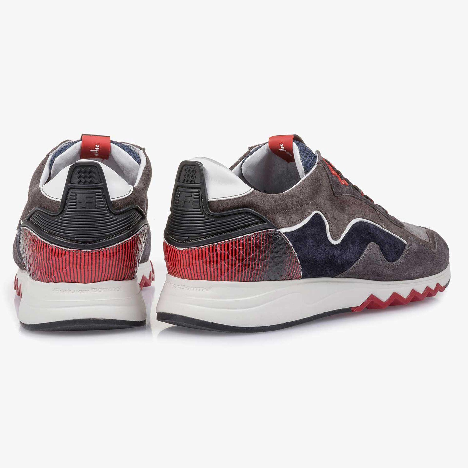 Suède sneaker grijs/rood
