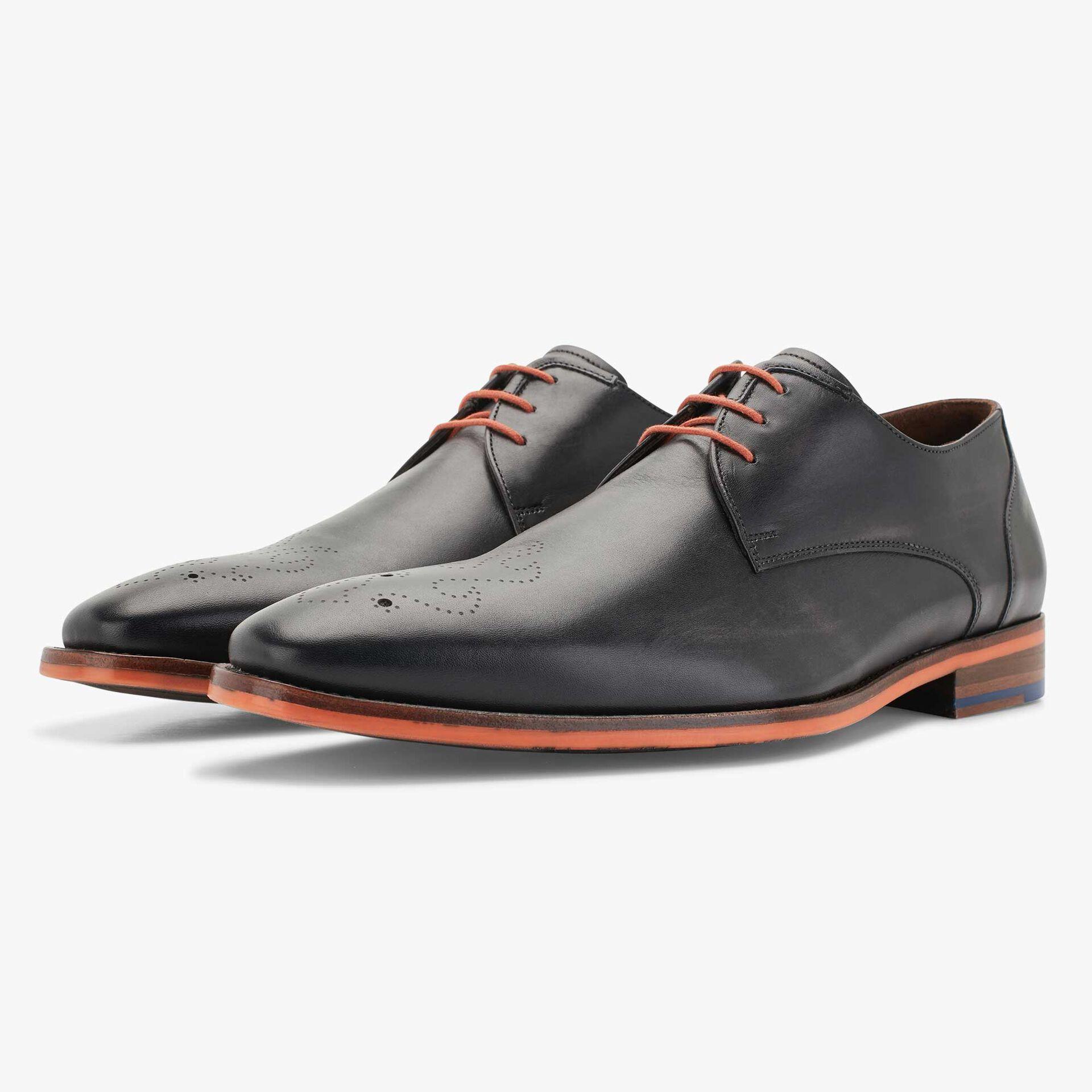 Floris van Bommel grey men's leather lace shoe