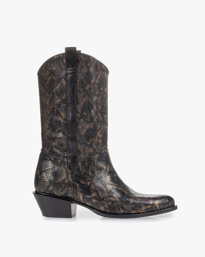 Western boot crocoprint koper
