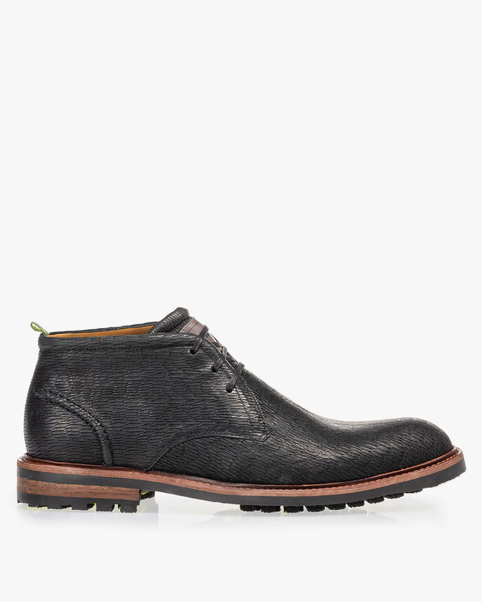 Lace boot black with print