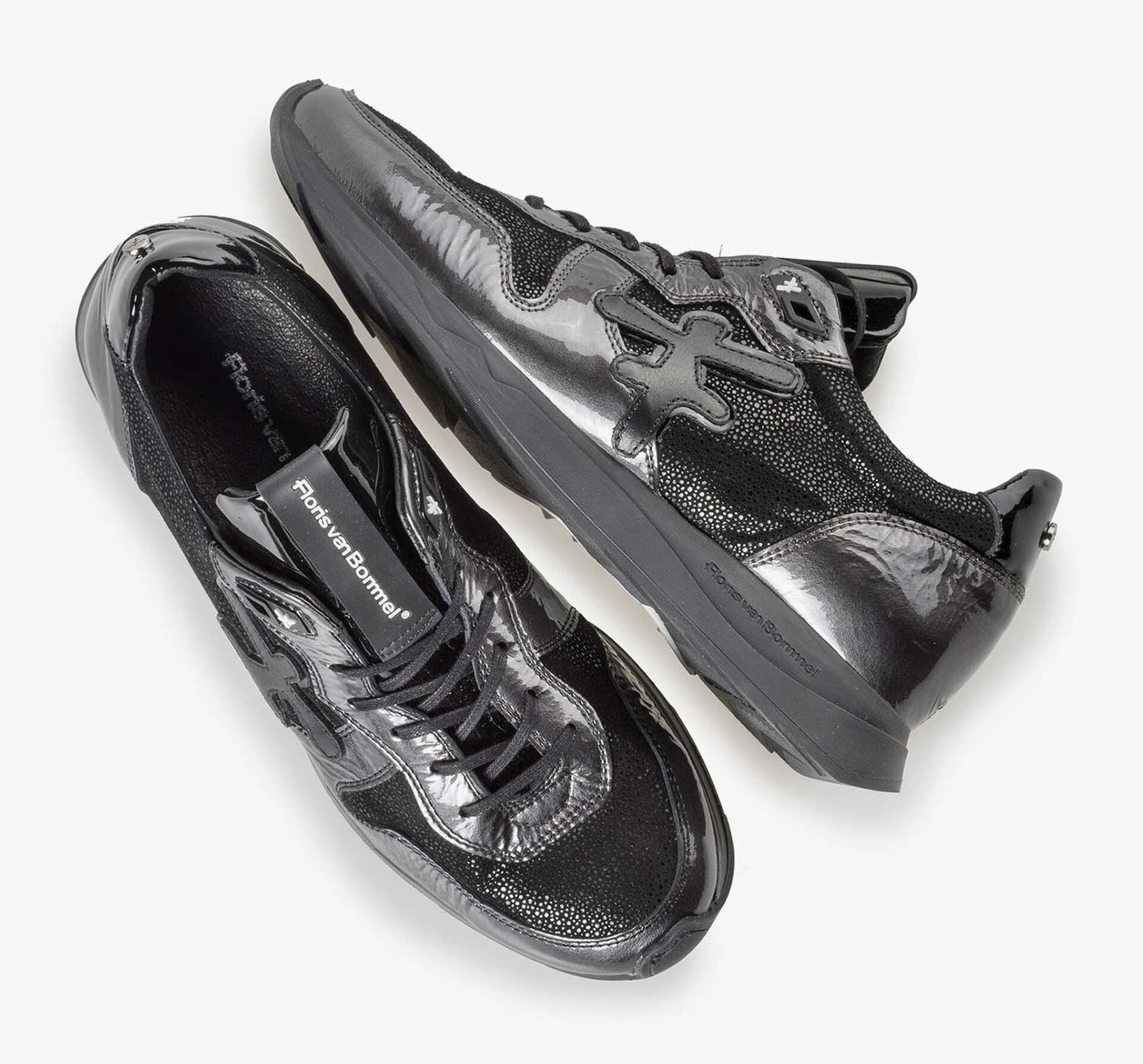 Grey patent leather sneaker with runner's sole