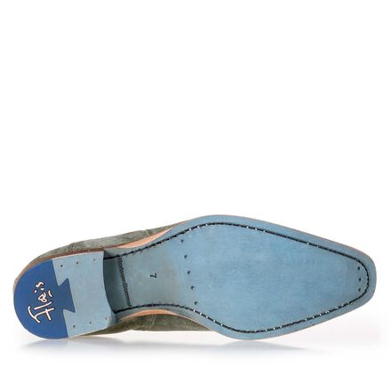 Suede lace shoe with denim structure