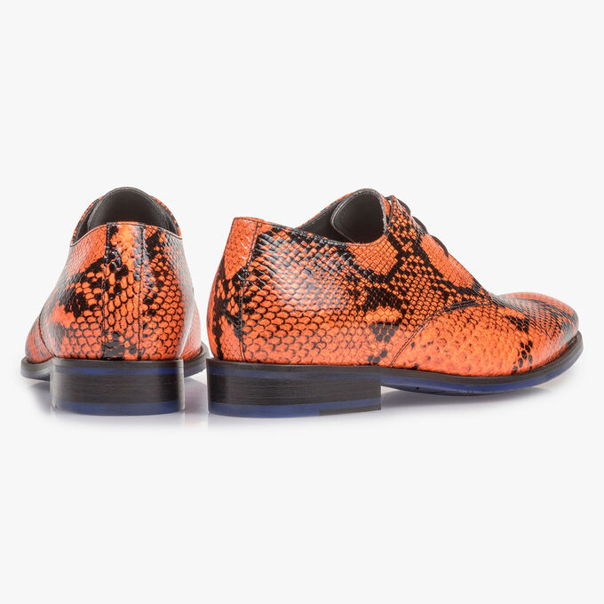 Premium fluorescent orange lace shoe with print