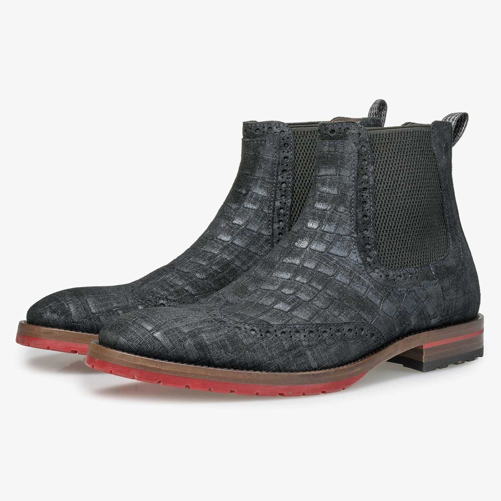 Blue suede Chelsea boot with check pattern