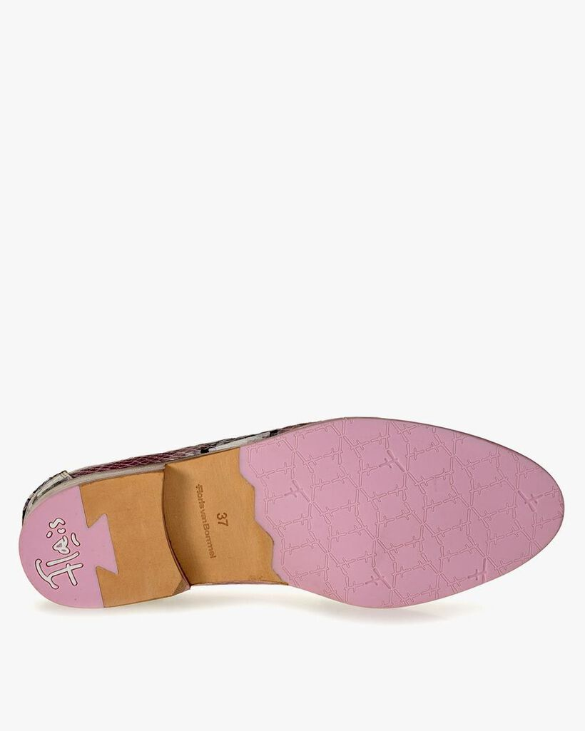 Loafer geprint leer roze